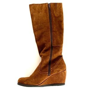 TARGET BRAND brown wedge faux suede tall boot- 8.5